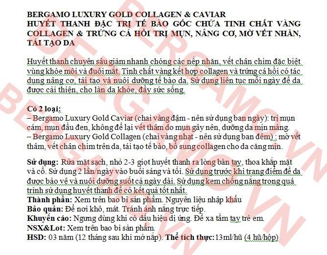 Hướng Dẫn Sử Dụng Serum Bergamo Luxury Gold